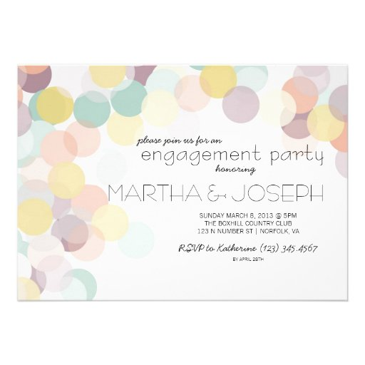 Scattered Confetti Spring Engagement Party Custom Announcements
