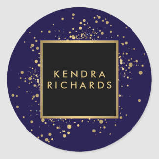 Scattered Faux Gold Confetti on Modern Blue Classic Round Sticker