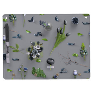 Scattered Flowers Black Dry Erase Board With Key Ring Holder