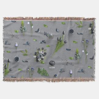 Scattered Flowers Black Throw Blanket