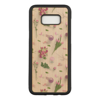 Scattered Flowers Pink Carved Samsung Galaxy S8+ Case
