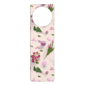 Scattered Flowers Pink Door Hanger