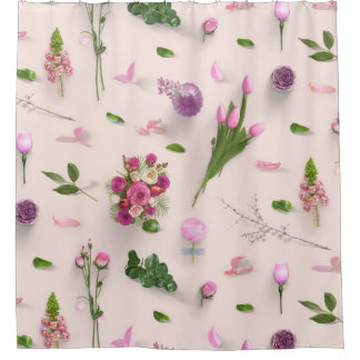 Scattered Flowers Pink Shower Curtain