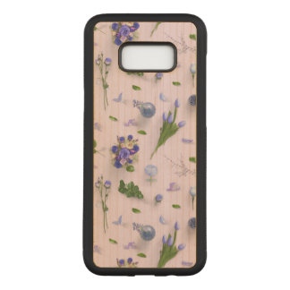 Scattered Flowers Purple Carved Samsung Galaxy S8+ Case
