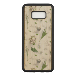 Scattered Flowers White Carved Samsung Galaxy S8+ Case