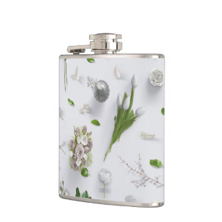 Scattered Flowers White Flasks