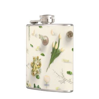 Scattered Flowers Yellow Hip Flask