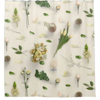 Scattered Flowers Yellow Shower Curtain