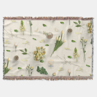 Scattered Flowers Yellow Throw Blanket