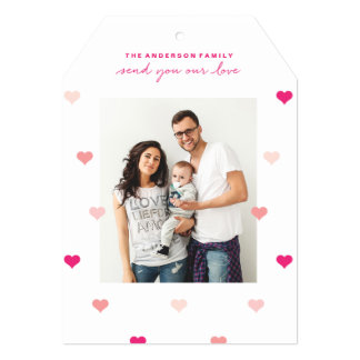 Scattered hearts Valentine's day photo card 13 Cm X 18 Cm Invitation Card