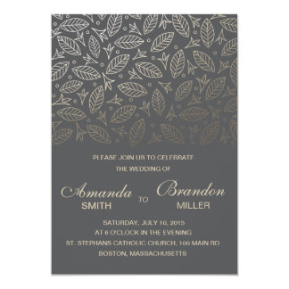 Scattered Leaves Faux Foil Wedding Invitation-Coal Card