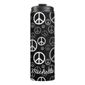 Scattered Peace Signs Black and White SPST Thermal Tumbler