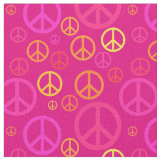 Scattered Peace Signs Pink SPST Fabric
