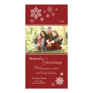 Scattered Snowflakes Holiday Photocard (red) Photo Card