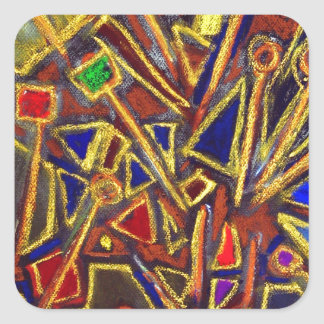 Scattered Stationery (abstract expressionism ) Square Sticker
