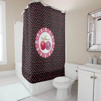 Scattered Watercolor Cherries Pattern Personalized Shower Curtain