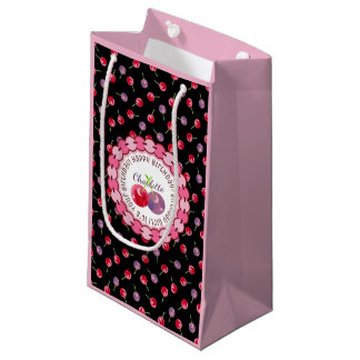 Scattered Watercolor Cherries Personalized Small Gift Bag