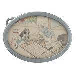 "Scene from the ""47 Ronin"" Story circa 1800s Japan Oval Belt Buckle"