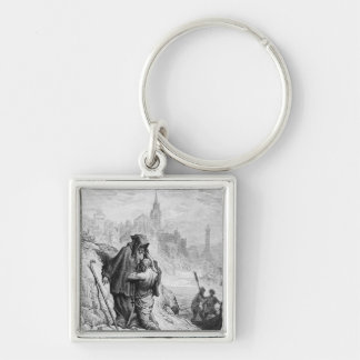 Scene from 'The Rime of the Ancient Mariner' Silver-Colored Square Key Ring