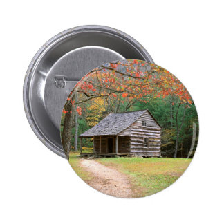 Scene Historic Log Cabin In Smoky Buttons