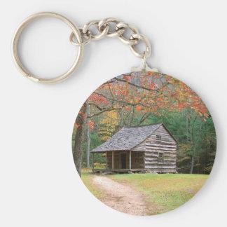 Scene Historic Log Cabin In Smoky Key Ring