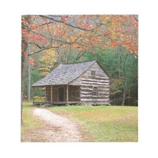 Scene Historic Log Cabin In Smoky Memo Pad