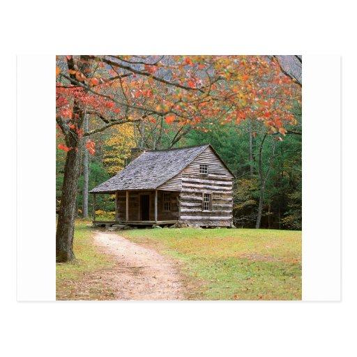 Scene Historic Log Cabin In Smoky Postcard