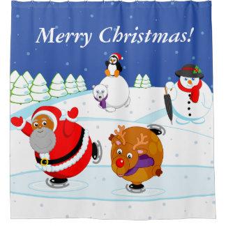 Scene of black Santa Claus & Rudolph ice skating, Shower Curtain