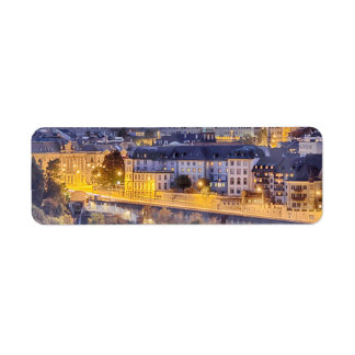 Scene of Fribourg with the night lights Return Address Label