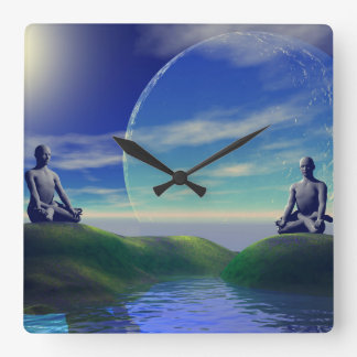 Scene of meditation square wall clock