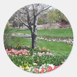 scenery,springtime classic round sticker
