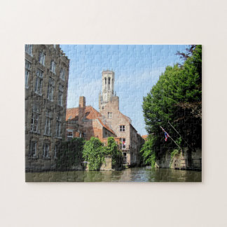 Scenery with water canal in Bruges, Belgium. Jigsaw Puzzle
