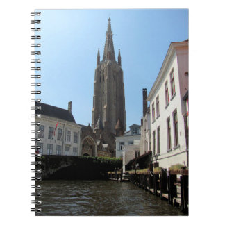 Scenery with water canal in Bruges, Belgium. Spiral Notebook