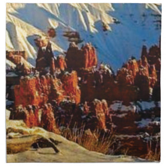 scenes of the snowy red rock napkin