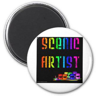 Scenic Artist Design On Black Background Magnet