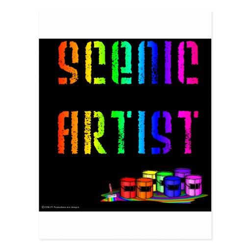 Scenic Artist Design On Black Background Postcards