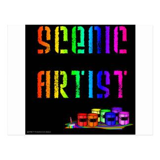 Scenic Artist Design On Black Background Postcard
