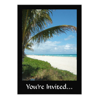 Scenic Beach, Side Palm Branch Personalized Invite