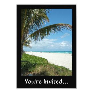 Scenic Beach, Side Palm Branch 13 Cm X 18 Cm Invitation Card