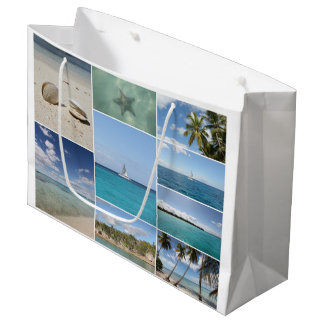 Scenic Caribbean Photo Collage Large Gift Bag