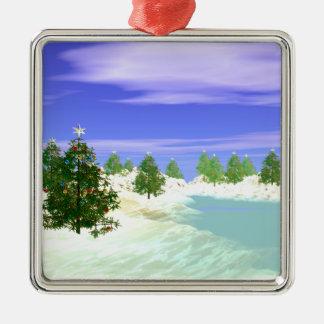 Scenic Christmas Silver-Colored Square Decoration
