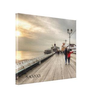 Scenic Coastal View Blackpool Pier UK Canvas Print