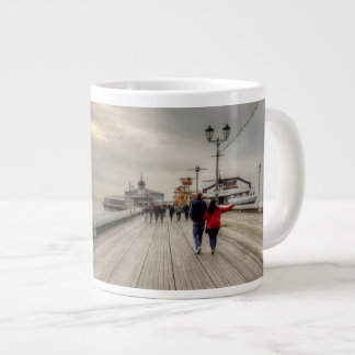Scenic Coastal View Blackpool Pier UK Large Coffee Mug