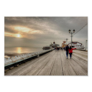 Scenic Coastal View Blackpool Pier UK Poster