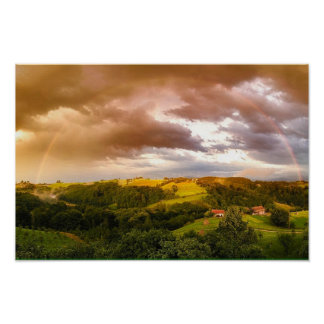Scenic Countryside Rainbow Poster