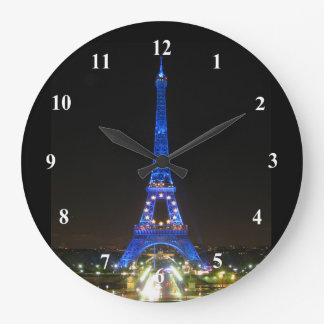 Scenic Eiffel Tower at Night Large Clock