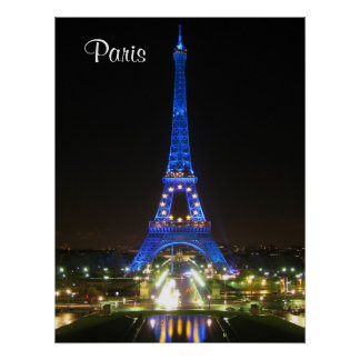 Scenic Eiffel Tower at Night Poster