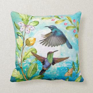 Scenic Hummingbirds Floral Nature Art | Blue Green Throw Pillow