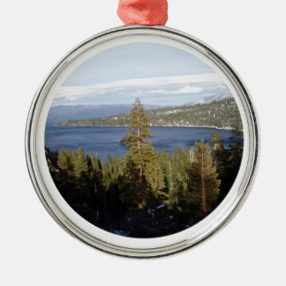 Scenic Lake Tahoe Deluxe Silver-Colored Round Decoration