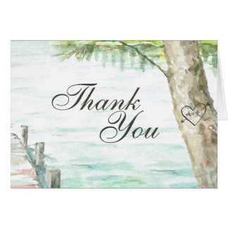 Scenic Lake Watercolor Thank You Card